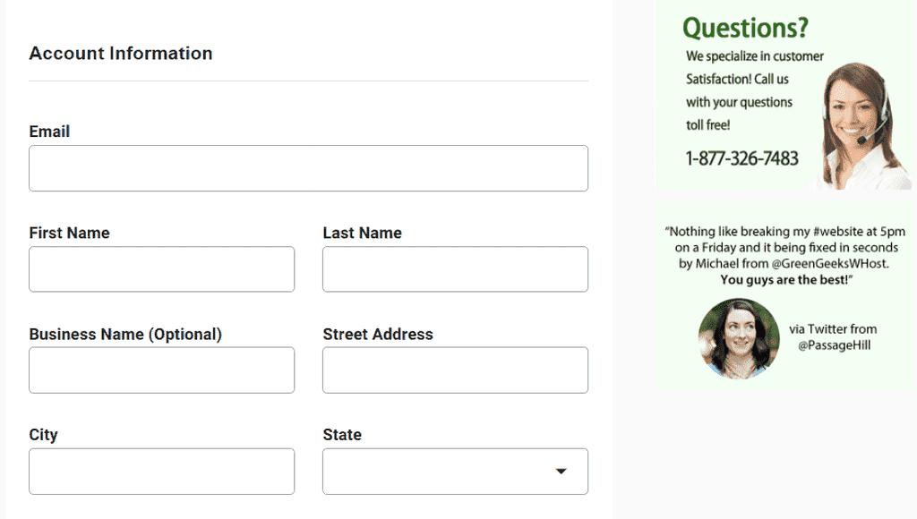 Greengeeks Account Information Details