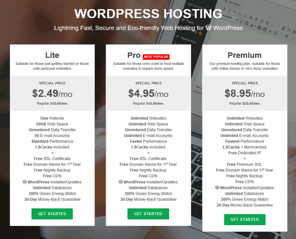 Greengeeks WordPress Hosting Plans