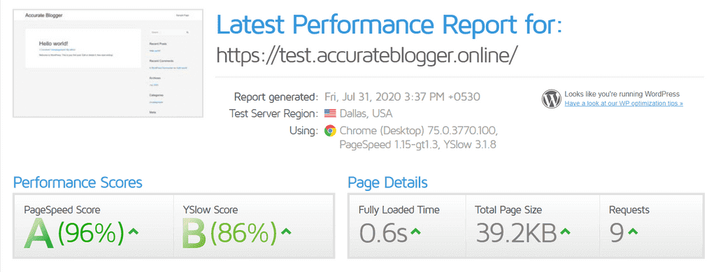 Speed Test with Astra Theme
