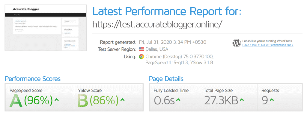 Speed Test with GeneratePress Theme