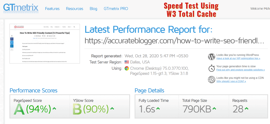 Speed Test Using W3 Total Cache