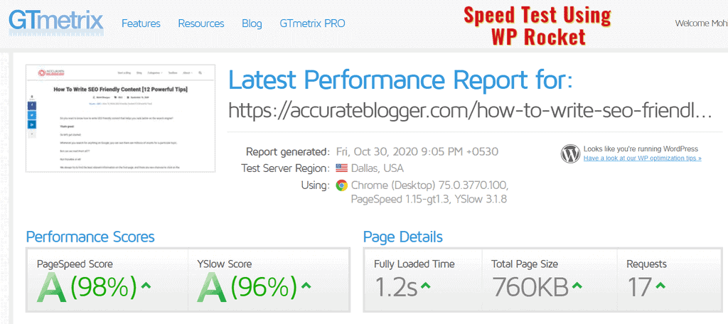 Speed Test Using WP Rocket