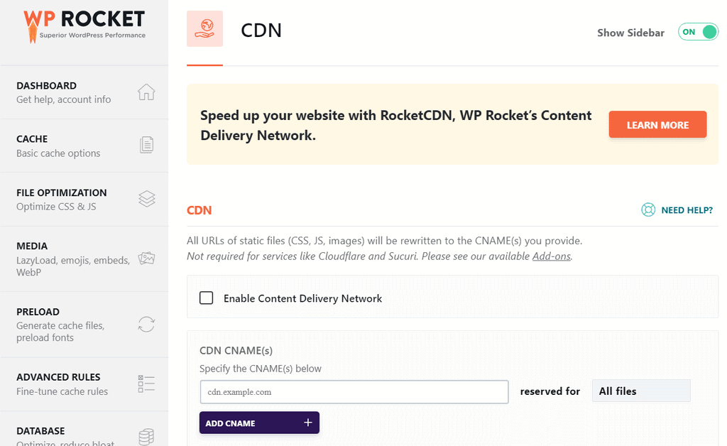 WP Rocket CDN Integration