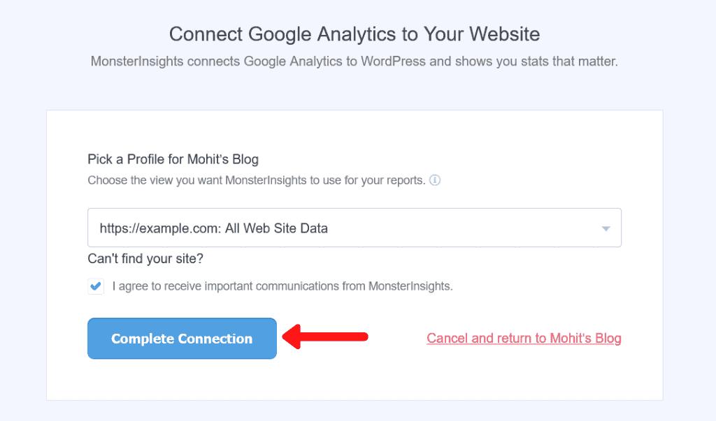 Connect Google Analytics to Website