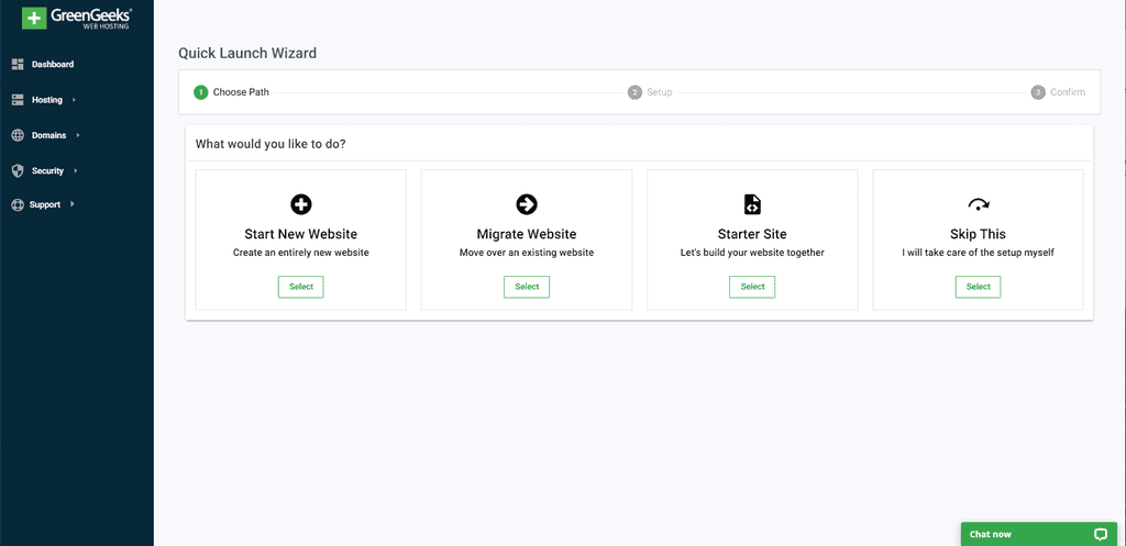 GreenGeeks Quick Launch Wizard Feature