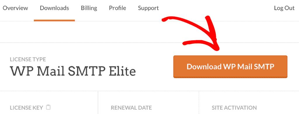 WP Mail SMTP Eklentisi İçin İndirme Düğmesi